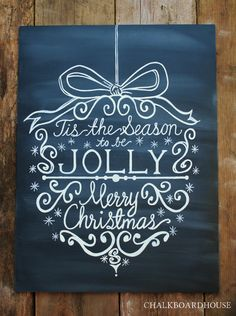Hand Painted Chalkboard Christmas Ornament Sign
