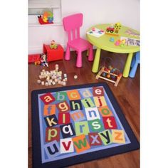 Colourful Navy Alphabet Letters Non-Slip Kids Rugs - Childrens Rugs