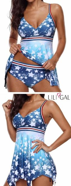 Spaghetti Strap Star Print Swimdress and Panty 4th Of July Dresses, 4th Of July Outfits, 4th Of July Swimsuits, Plus Size Swimsuits, Hot Outfits, Casual Outfits, Casual Clothes, Girl Fashion, Fashion Outfits