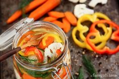 Pickled Vegetables {quick and easy refrigerator pickles!} - afarmgirlsdabbles.com #pickles