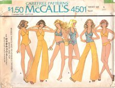 McCalls 45011970s Misses Pull On Wide Leg Pants REVERSIBLE Swimsuit Bikini and Halter Top womens vintage sewing pattern by mbchills