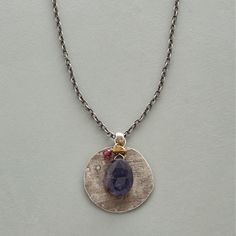 """IN THE SPOTLIGHT NECKLACE--Iolite, garnet and a single brass bead dangle before a rustic backdrop, brought into focus as if by a spotlight. Oxidized sterling silver disk, chain and hook clasp. Handmade in USA exclusively for Sundance. 36""""L."""