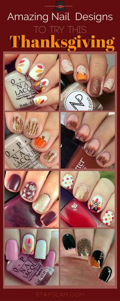 21 Amazing Thanksgiving Nail Art Ideas Source by stayglamcom Thanksgiving Nail Designs, Holiday Nail Designs, Thanksgiving Nails, Holiday Nail Art, Best Nail Art Designs, Fall Nail Art, Holiday Mood, Fancy Nails, Cute Nails