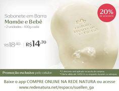 A hora do banho do bebê é sagrada, com os sabonetes Natura Mamãe e Bebê esse momento é sempre mais gostoso! Compre pela internet até 16/05, sabonetes em barra (2 unidades de 100gr) com 20% de desconto! Baixe o app COMPRE ONLINE NA REDE NATURA ou acesse www.redenatura.net/espaco/suellen_ga A Natura entrega o pedido em sua casa em todo Brasil, pague com boleto bancário ou divida em até 6x s/juros no cartão #bebe #filhos #familia #maes #gravidez #sabonete #natura