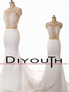 DIYouth New Sexy Lace Mermaid bridal Gowns Wedding Prom Dresses for Evening