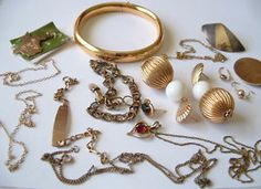 3 Day Auction - Gold Filled Jewelry Lot - Includes Victorian era & Vintage / Antique Jewelry. Earrings, Pendants, Gemstones, Bangle Bracelet, Initial Pendant, Texas Charm Bracelet Charm, Sterling Silver Earring, Thin Gold Chain, Medical ID Bracelet, Pin / Brooch and more! Currently for sale on eBay! Awesome Jewelry Lot!