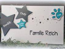 Türschild Familienschild mit Sternen und Pfote Hanukkah, Etsy, Wreaths, Country, Home Decor, Wood, Craft Tutorials, Handcrafted Gifts, Stamps