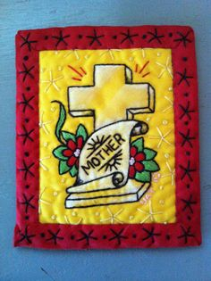 """Traditional Tattoo Hand Embroidery 'Mother' Cross $95.00  65.52 GBP Stitched and hand painted by Ursula Thomson. Approx: 4.5"""" x 3.5"""" igift #embroidery #tattoo  #mother #cross"""