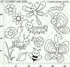 Cute Bugs - Digital Stamps Are you looking for cute high quality images to use in your projects? You've come to the right place! You can print these digital stamps to Embroidery Patterns, Hand Embroidery, Machine Embroidery, Embroidery Jewelry, Decoration Creche, Felt Crafts, Paper Crafts, Quilting, Digi Stamps