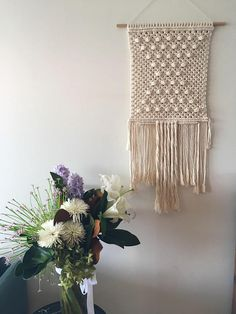 This beauty is handmade with all natural cotton 4mm single twist cord on a Tasmanian oak rod Measurements ~ Macrame hanging: 37cm wide x 84cm long Rod: 47cm long Each piece is made to order so please allow up to 2 weeks for shipment. Because it is handmade please allow slight differences