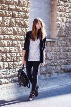Casual Outfit - Soft & Hard Clothes  #whaelse #outfit #streetstyle #fashionblog #modeblog #blogger #style #inspiration #lace #dressoverjeans #backpack #oversized #blazer
