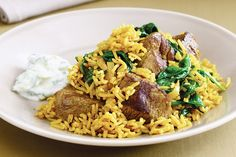 Lamb and spinch pilaf