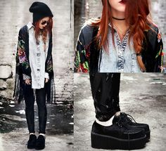 Lua P - Leggings, Creepers, Saltwater Gypsy Kimono, Romwe Denim Blouse - Sun rise, light flies