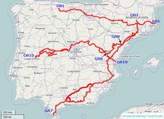 overview map of trails in Spain for which I created electronic trail guides