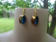 Handmade Two Tone Color Turquoise and Gold Glass Bead Dangle Earrings #Handmade #DropDangle