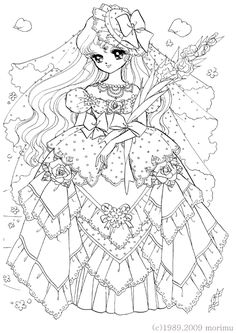Japan. Dream Girl. Lace dress. Free Coloring Page