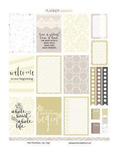 Planner & Journaling Printables ❤ Free Printable Planner Stickers - Wedding - Large Happy Planner P1