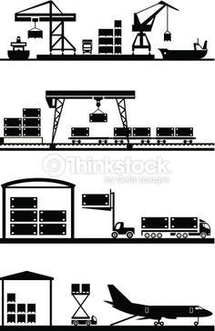 벡터 아트 : Cargo terminals icon set