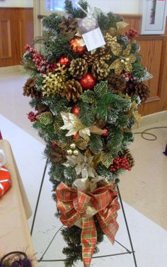 Gold and Red Door wreath Christmas Pine by ButtonsBitsnBaubles, $75.00 #handmade #christmaswreath