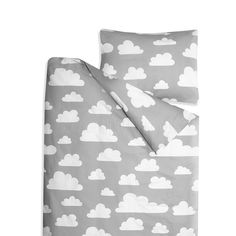 Bedding Set . Clouds / Grey - Single