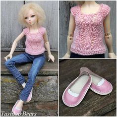 """Summer Sale Minifee Outfit """"Pink & Jeans"""" with shoes, for dolls format MSD / Minifee set of clothes / Minifee clothes / MSD set of cloth by TashkasBears on Etsy"""