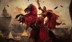 The Red Knight rides his loyal steed, Gehenna, as she rears to charge the enemy.