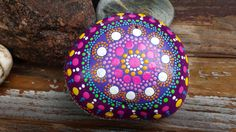 Bohemian dot art-mandala stone-painted rock-fall by RockYourWorld7