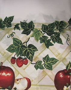 Country Apple Blossom Apples 36L Tiers Swag Set Kitchen Curtains