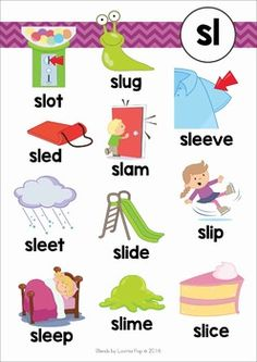 SL Blends Worksheets and Activities. Learning Phonics, Phonics Reading, Preschool Learning Activities, Kindergarten Reading, Teaching Reading, Teaching Kids, Kids Learning, Group Activities, Phonics Chart