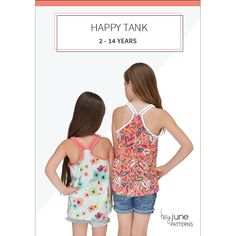 Happy Tank Free PDF sewing pattern. Strappy tank top racerback style. Girls sizes 2-14 #aff