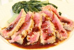 Sesame Ahi Tuna with Teriyaki Citrus Sauce....oooh I gotta try this! Yummy in my tummy hee hee!