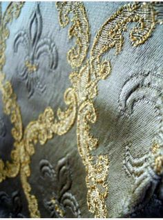 Antique French fabric damask with flowers of Lily