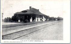 1912-Deerfield-Illinois-Postcard-C-M-St-P-DEPOT-Milwaukee-Road-Railroad