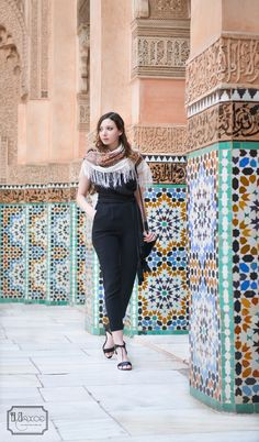 Medersa ben youssef Marrakech, black jumpsuit, russian shawl, vacation outfit