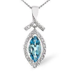 Blue Topaz 1.15CT And Diamond 9K White Gold Pendant. #thediamondstoreuk #bluetopaz #topaz #gemstone #pendant #diamonds #jewellery #birthstone