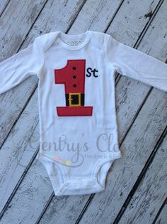 Baby's 1st Christmas with Santa Belt Tee | Gentry's Closet | $24 | Click link to follow: http://gentryscloset.com/collections/christmas/products/babys-1st-christmas-shirt-or-infant-bodysuit-santa-belt-first-christmas-appliqued-xmas-outfit-holiday-pictures-with-santa