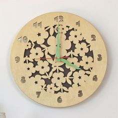 Hey, I found this really awesome Etsy listing at https://www.etsy.com/listing/114999748/wooden-wall-clock-laser-cut-flowers-o
