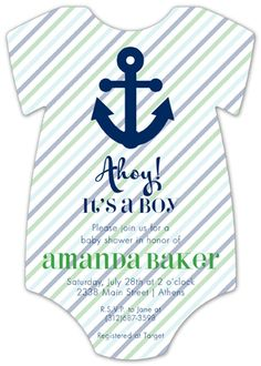 Ahoy It Is A Boy Onesie baby shower invitations for boys at Polka Dot Design Invitations