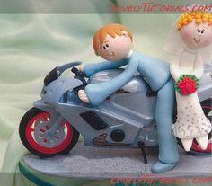Motorcycle Get-away Wedding Couple Figurine tutorial