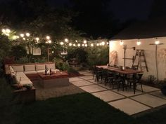 Our backyard patio design with cafe lights just after completion. Unser Hinterhof Patio Design mit C Backyard Patio Designs, Small Backyard Landscaping, Backyard Pergola, Pergola Designs, Landscaping Ideas, Simple Backyard Ideas, Backyard Cafe, Patio Ideas, Garden Ideas