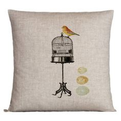 Love this super cute birdie pillow and love that the birdie is out of the cage! :)