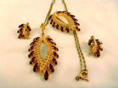 AMAZING Vintage Amethyst Necklace/Earrings/Pin by GraffitiCat, $20.00