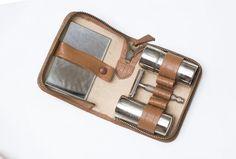 Vintage 60s Brown Leather Shaving Set Gift for by RaffaelloVintage, $32.00