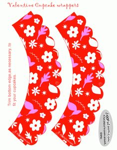Floral Valentine Cupcake Wrappers to Print | Ziggity Zoom