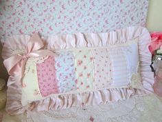 Romantic Roses Ruffled Patchwork Pillow Pink Bow Button | eBay Patchwork Pillow, Quilted Pillow, Cute Pillows, Kids Pillows, Sewing Art, Sewing Crafts, Shabby Chic Cushions, Cat Cushion, Memory Pillows