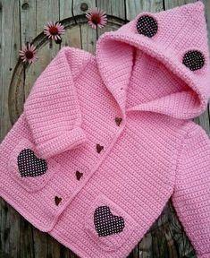 Free Crochet Pattern - Pink Single Crochet Baby Sweater - Her Crochet Crochet Baby Sweater Pattern, Crochet Baby Sweaters, Baby Sweater Patterns, Crochet Coat, Crochet Baby Clothes, Baby Knitting Patterns, Crochet Toddler, Crochet Girls, Cute Crochet