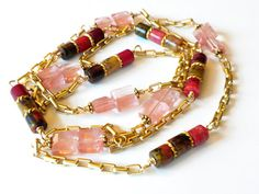 Red Jasper Necklace Gold Chain Necklace Rose Quartz by APerfectGem