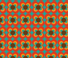 turquoise and orange fabric | Retro flower turquoise orange brown fabric by heimatkinder for sale on ...
