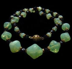 Antique Victorian Glowing Glass and French Jet Bead Necklace / This stunning vivid fluorescent greenish-yellow glass was invented in Prague by Josef Riedel in 1830's and he called it 'Annagrun', after his wife Anna.