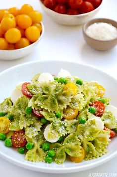 Pea Pesto Pasta Salad | recipe via justataste.com